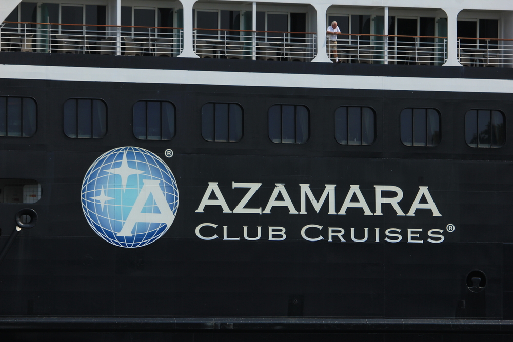 The side of an Azamara Club Cruises ship