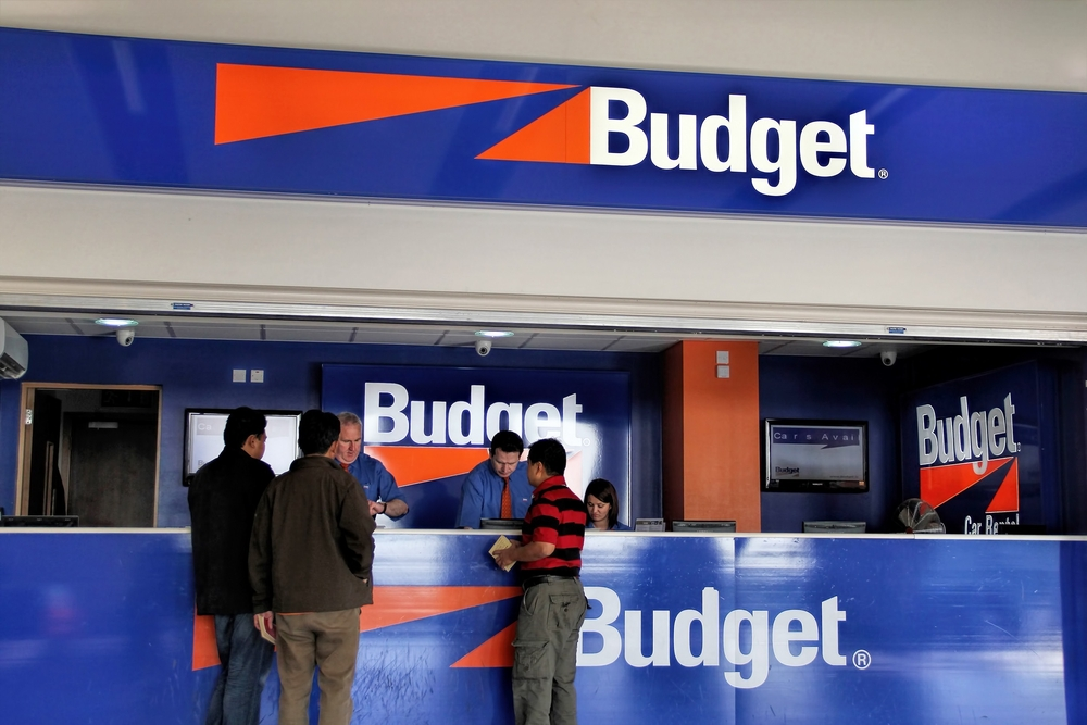 Budget car rental counter at the airport