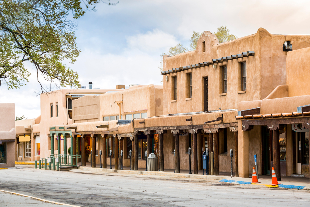 Buildings in Taos on the city street