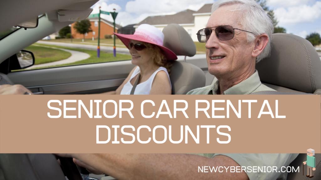 A senior couple driving a rented convertable