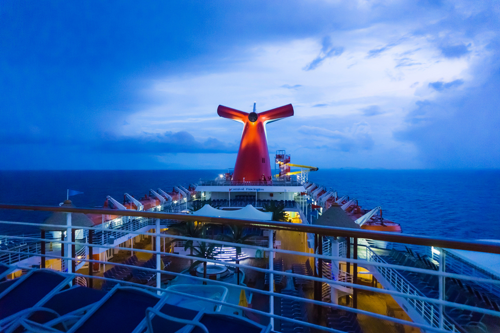 Deck of a Carnival Cruise ship at night