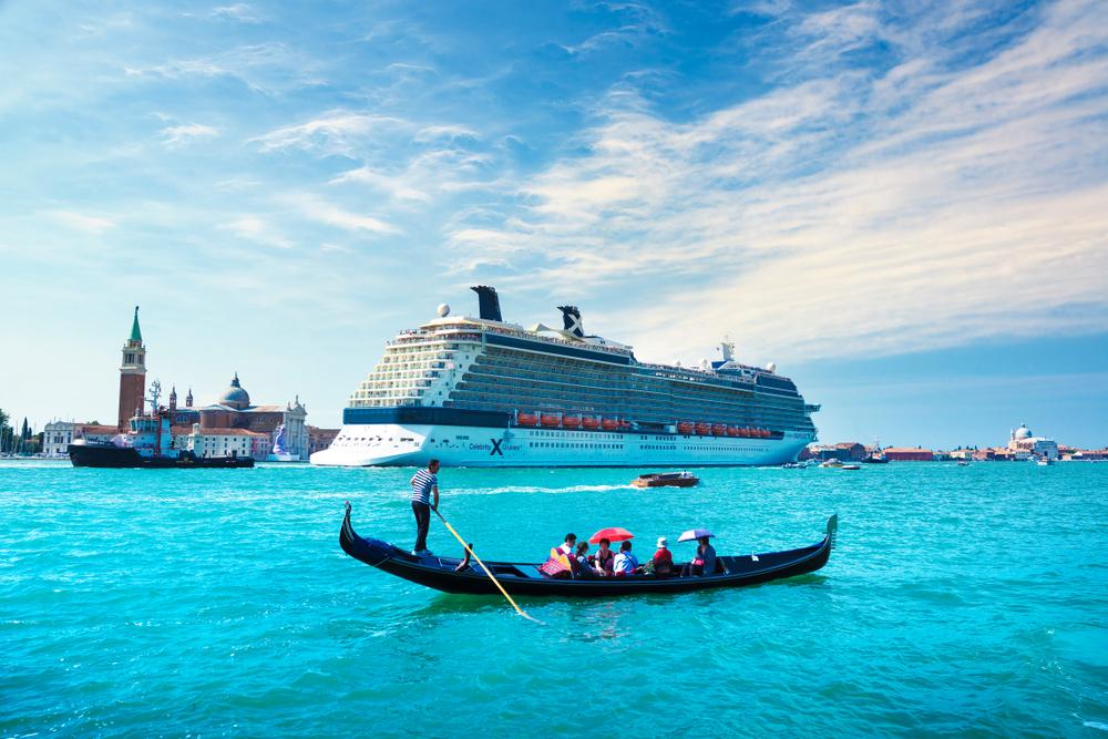 A Celebrity cruise ship in Venice