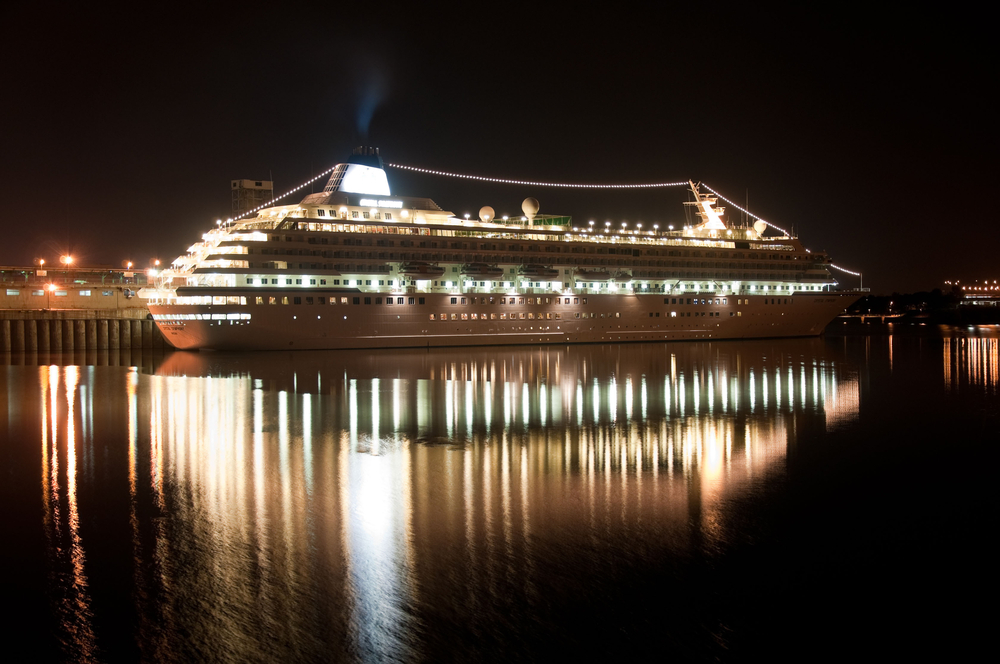 Nighttime image of the Crystal Symphony ship in Quebec Canada