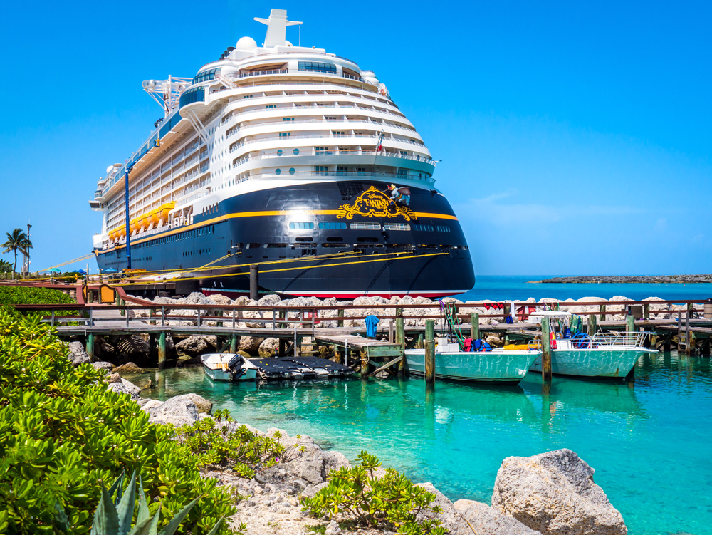 A Disney cruise ship in the Bahamas