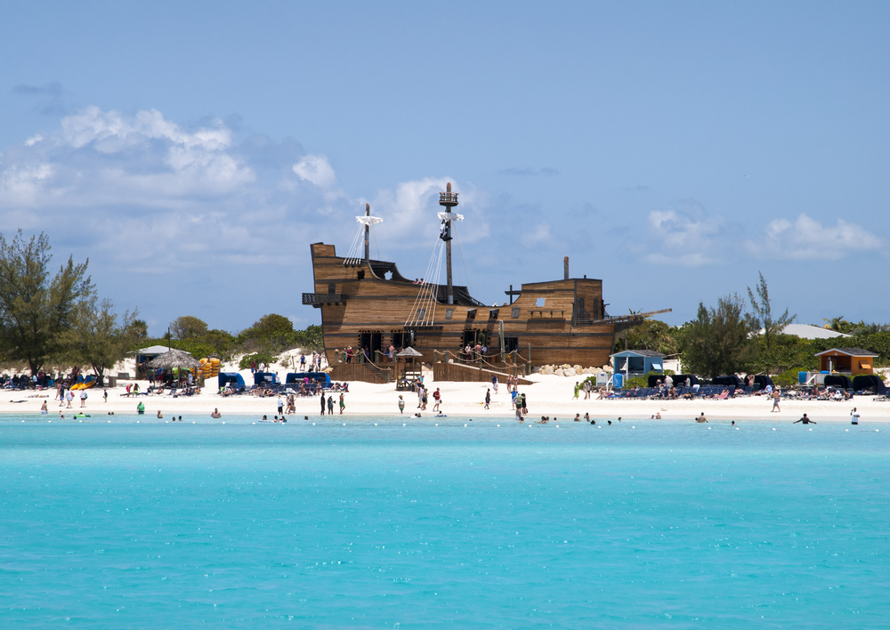 A pirate ship on the beach of Half Moon Cay, a private island
