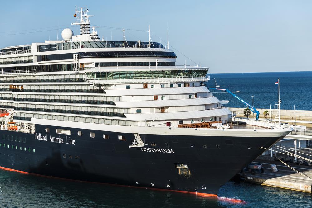 Holland America ship docked in Spain
