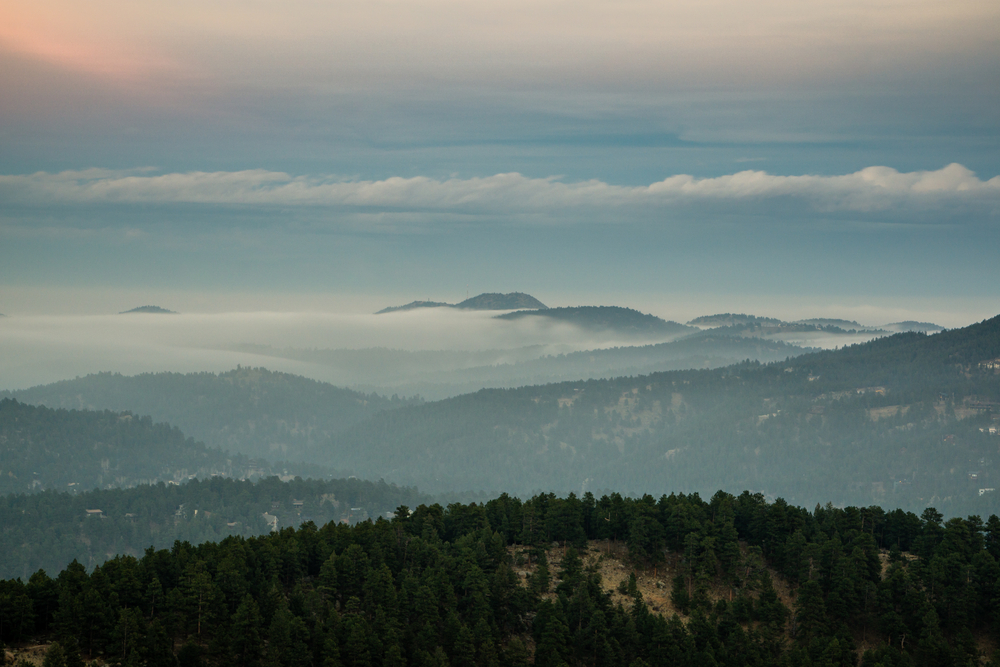 Looking over the town of Evergreen amongst the fog