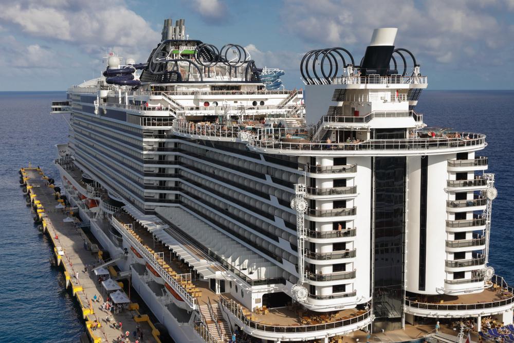 A close shot of an MSC cruise ship, showing the various decks