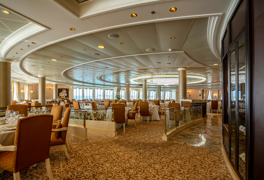 Inside the dining room of an Oceania cruise ship
