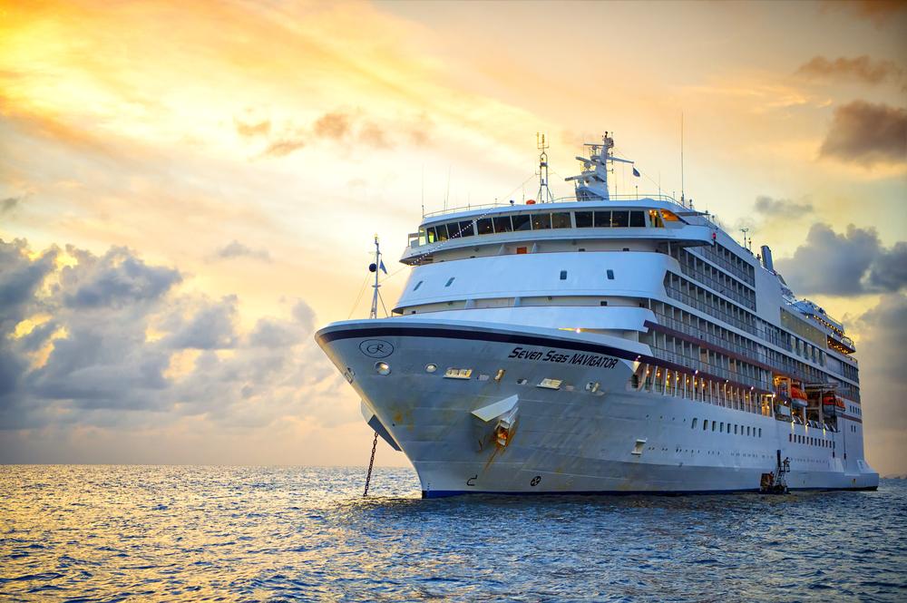 Regent Cruises ship at sunset