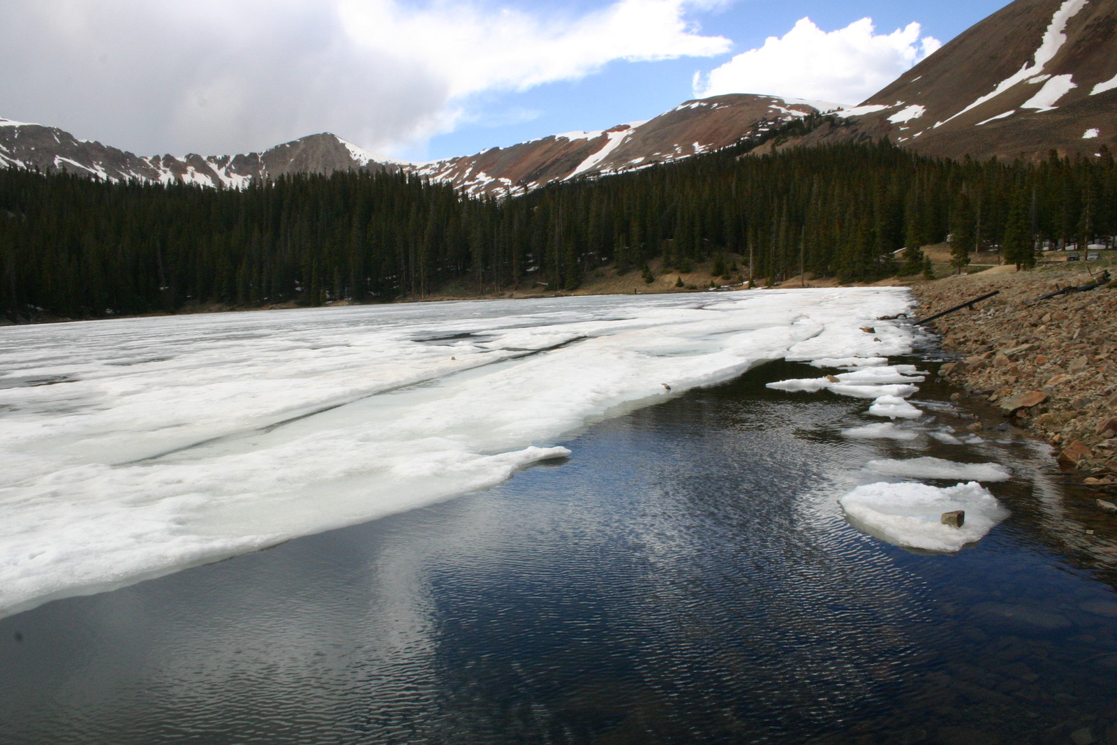 An ice covered lake that is melted on the shoreline, with tall dark evergreens on the back shore, with mountains in the background, and a partly cloudy blue sky