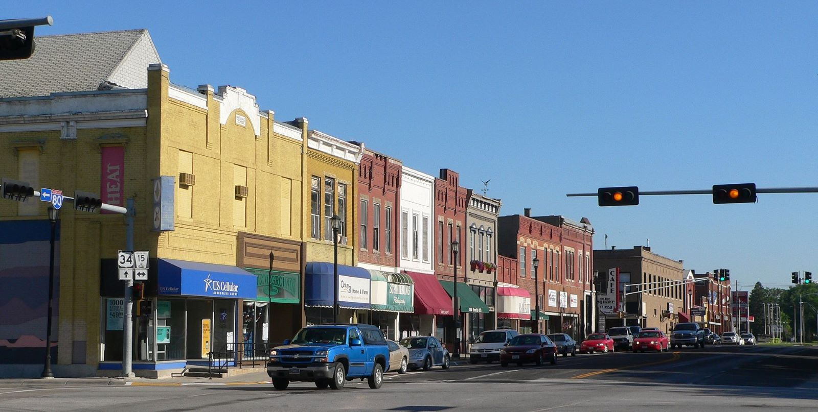 Down Seward main street intersection on interstate 80.  Shops lining the road with colorful awnings