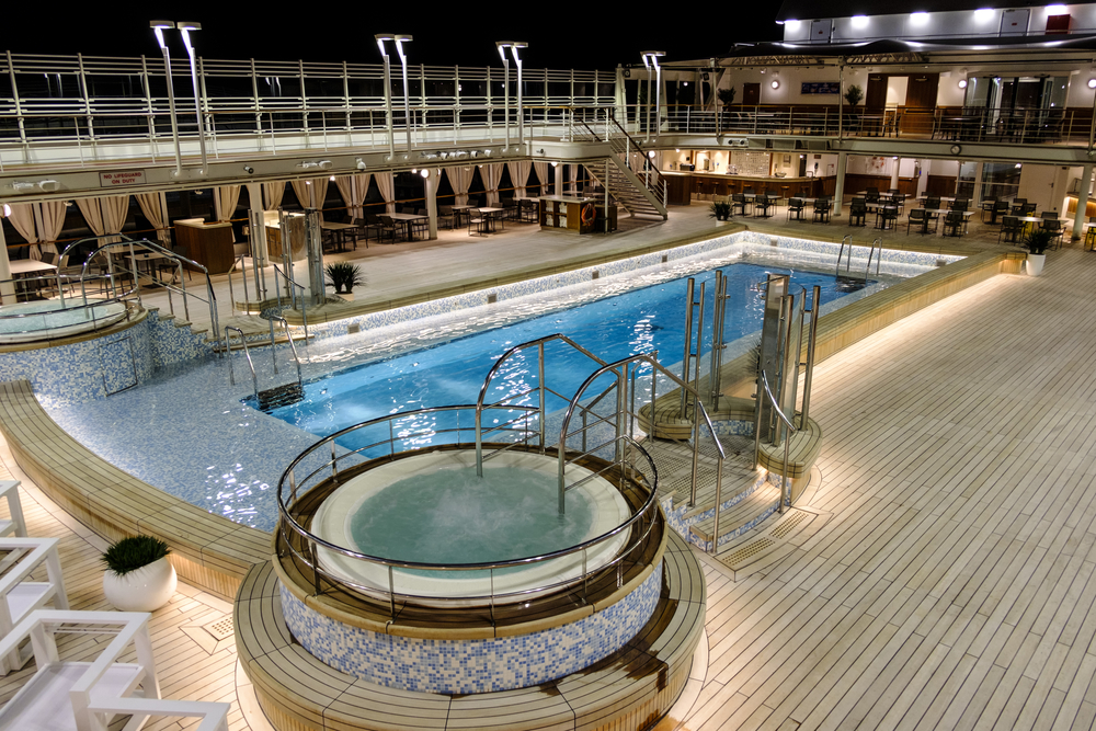 The pool on an empty deck of a Silversea cruise ship