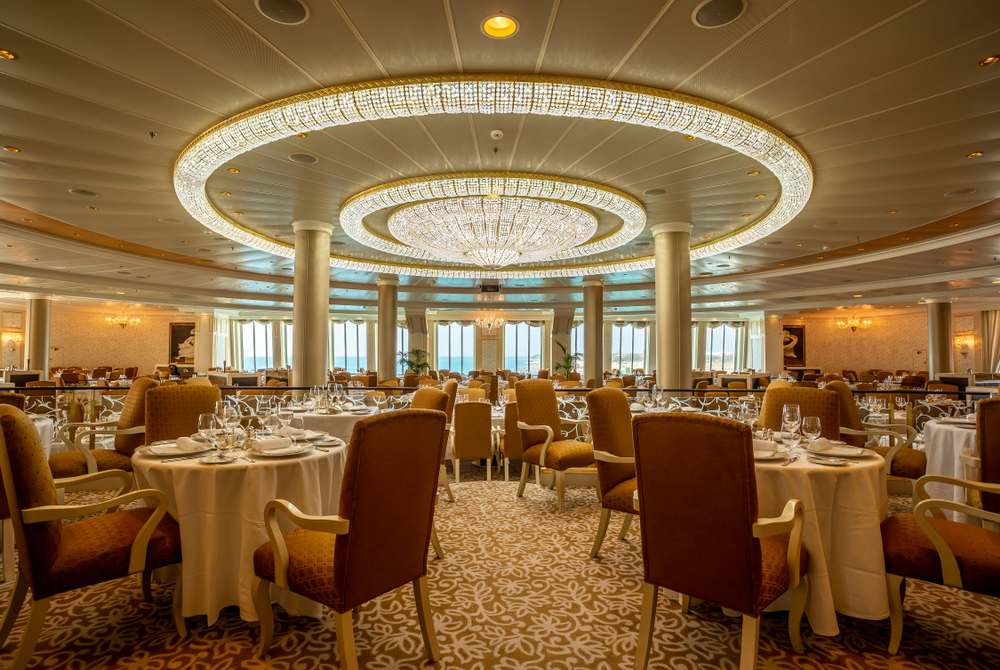 The dining room of an Oceania cruise ship