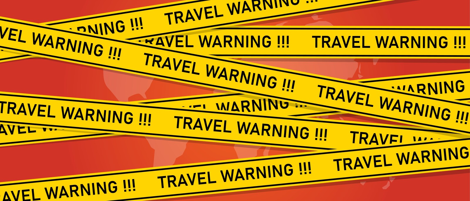"Red background of an outline of a map of the world with yellow tape criss-crossing over it stating ""travel warning!!!"""