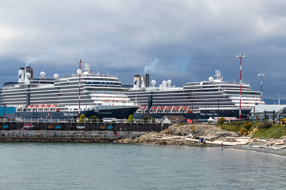 Two Holland America cruise ships in Victoria Canada