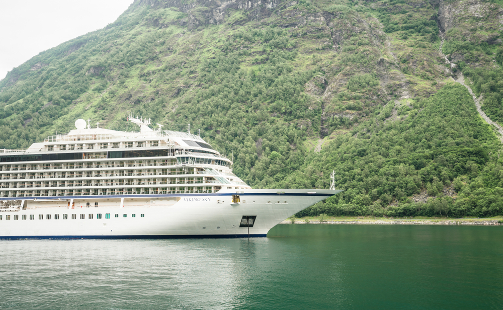 A Viking cruise ship in Norway