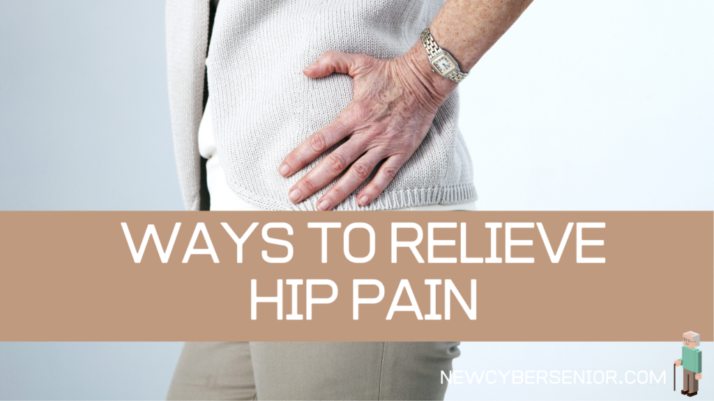 A senior woman holding her hip because of hip pain