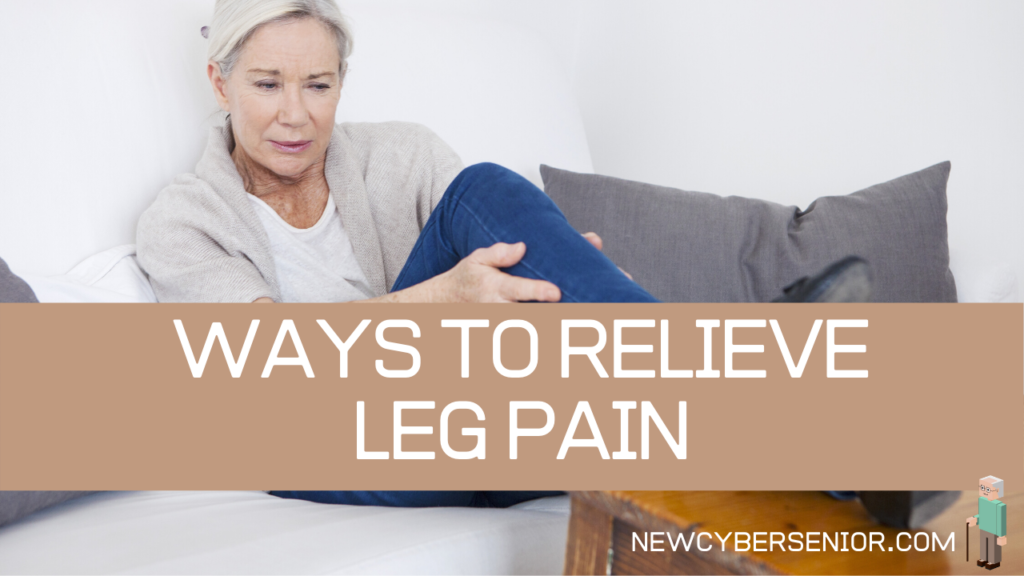 A senior woman sitting on a couch with leg pain