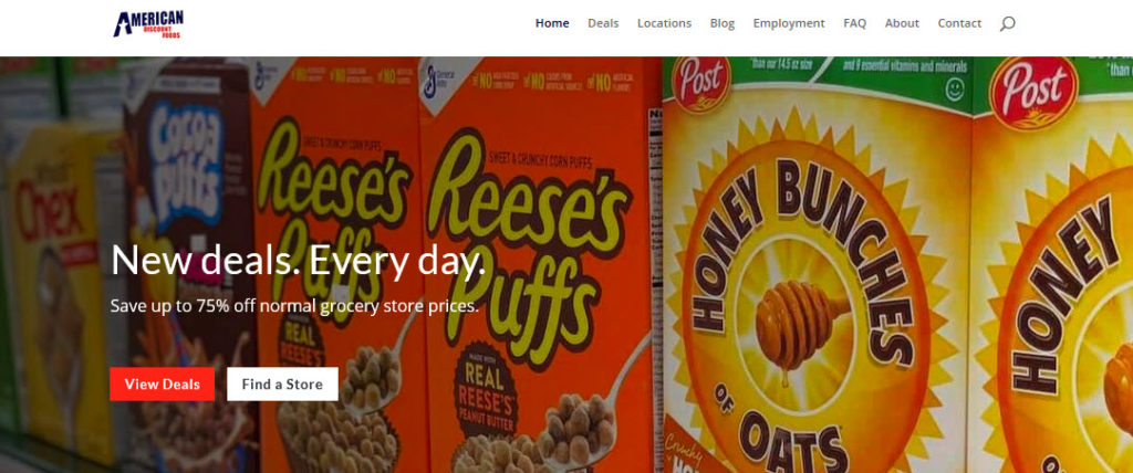 Website Screenshot from American Discount Foods showing boxes of cereal