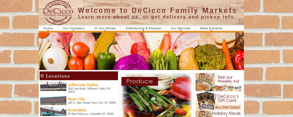 Website Screenshot from DeCicco Family Markets showing a brick wall background and images of food
