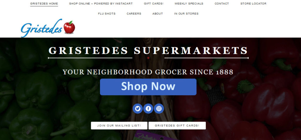 Website Screenshot from Gristedes Supermarket showing a black background and details about the grocery store
