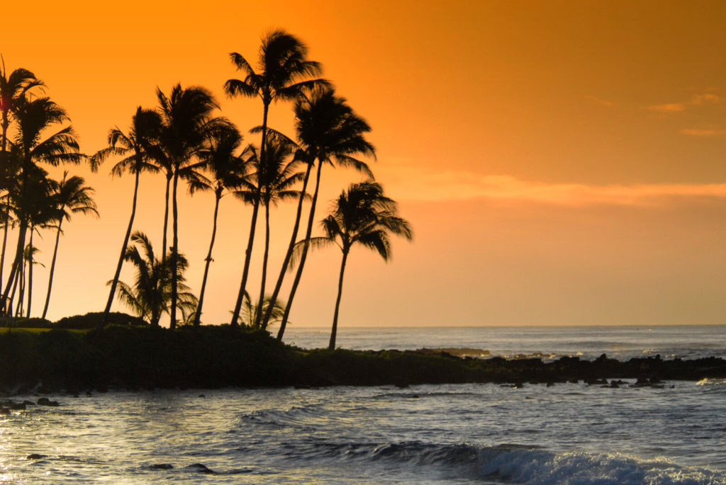 beautiful Hawaii beach at sunset.
