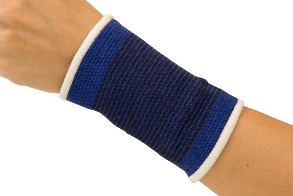 A compression brace around a wrist.