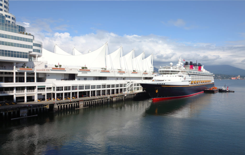 A cruise ship docked in Vancouver.