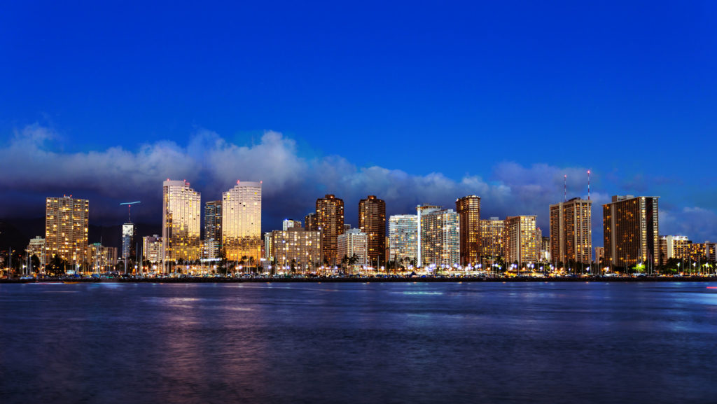 the skyline of Honolulu on Oahu.