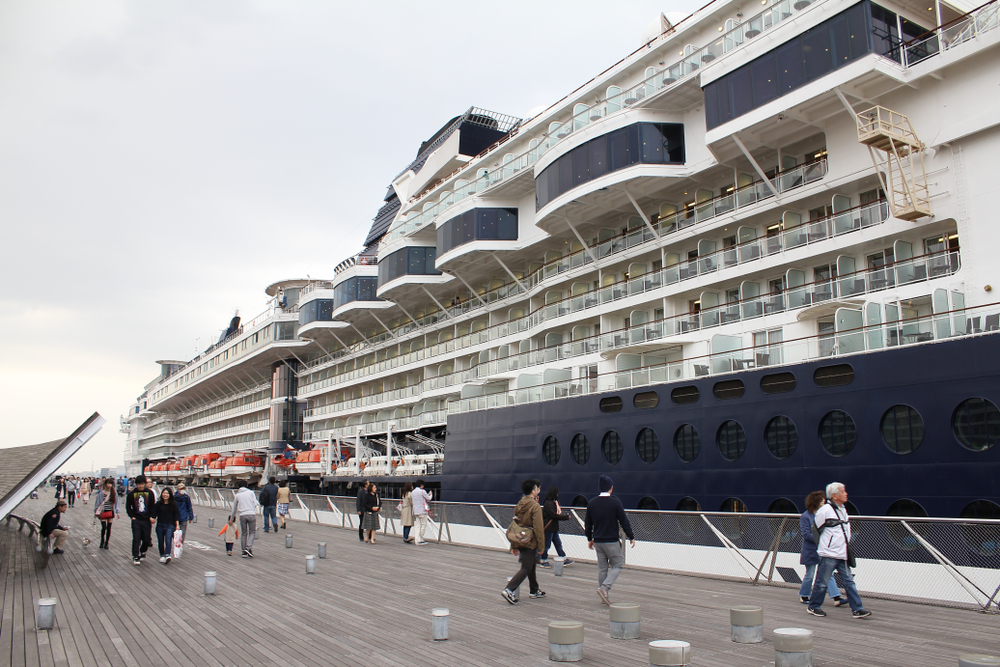 A Celebrity cruise ship docked in Japan