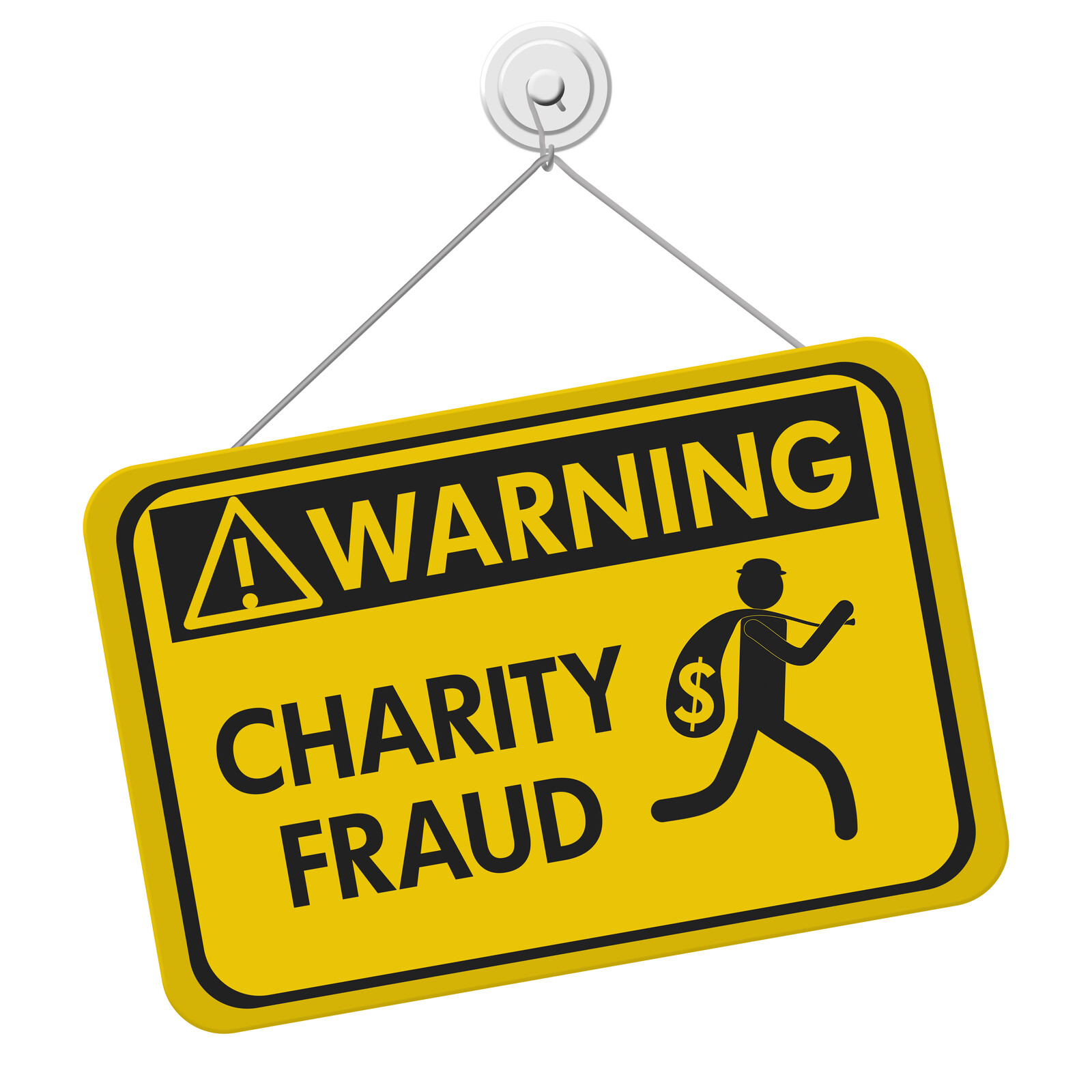 Yellow warning sign that says Warning Charity fraud with a silhouette of a robber with a bag of money running away