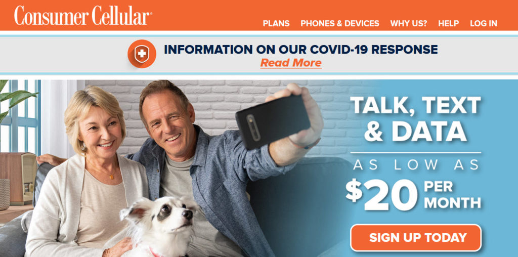 Consumer Cellular Website Screenshot showing two people taking a selfie with their dog