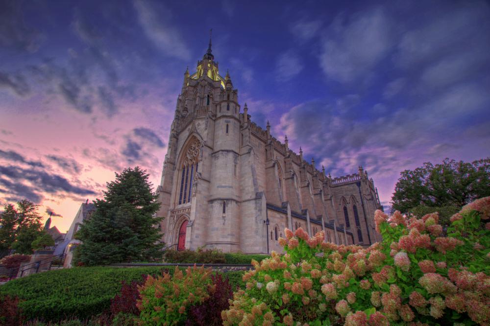 A church in Farmington Michigan at sunset