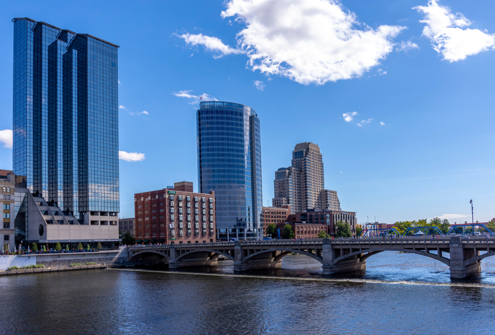 Looking across the river in Grand Rapids Michigan