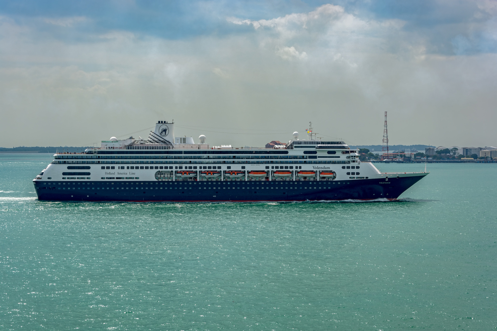 A Holland America cruise ship in the Singapore Strait