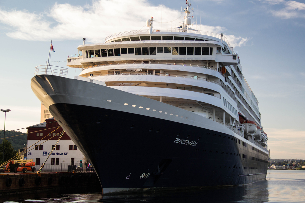 A Holland America cruise ship docked in Oslo Norway