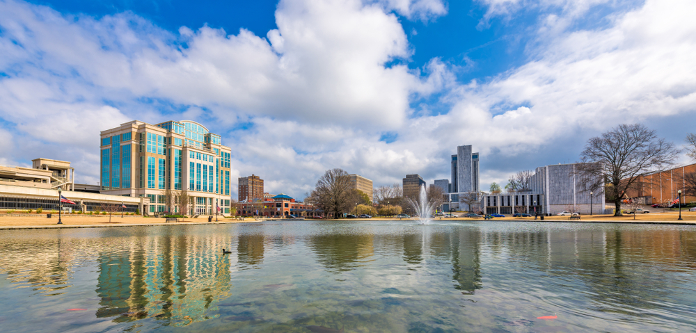 A lake and downtown buildings in Huntsville Alabama