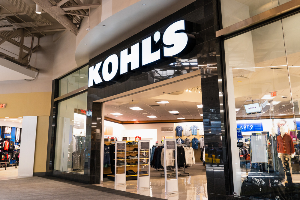 The front of Kohl's Department Store with various racks of clothing visible