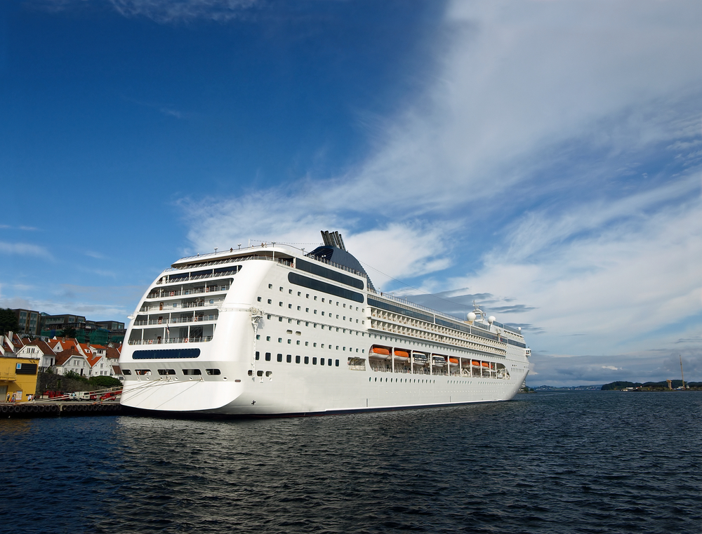 MSC cruise ship pulling out of harbor in Norway