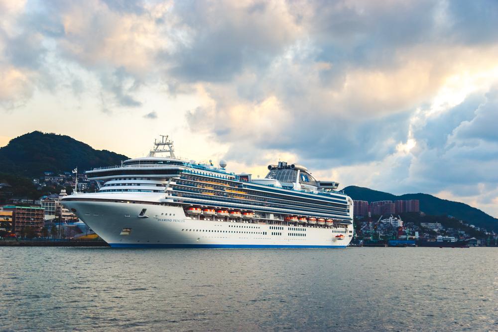 A Princess Cruise ship, Diamond Princess, in dock at Nagasaki Japan