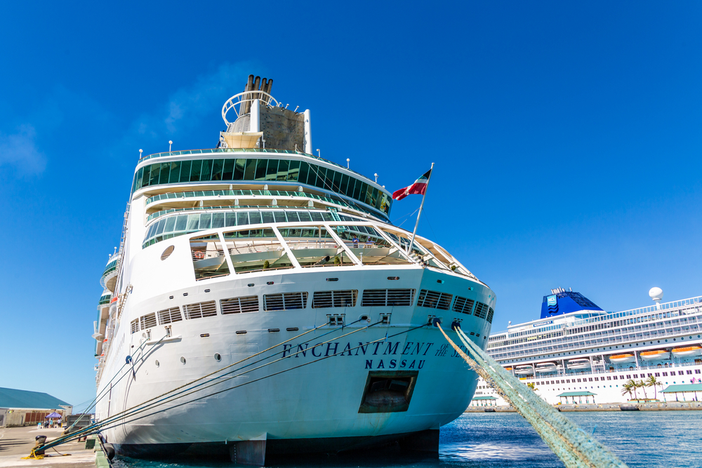 The front of a Royal Caribbean cruise ship
