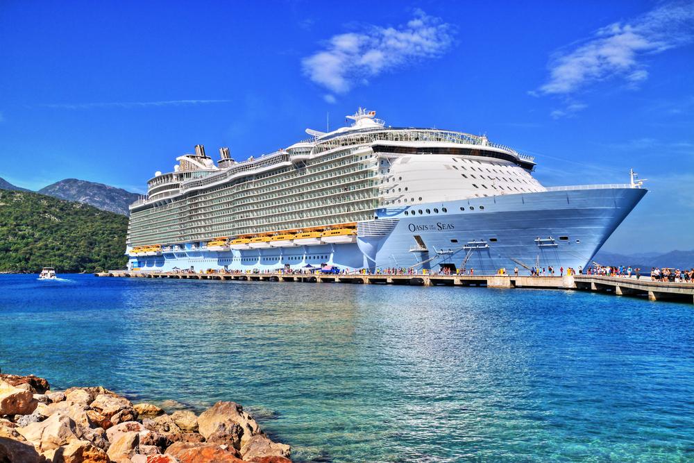Royal Caribbean cruise ship in a beautiful sunny bay