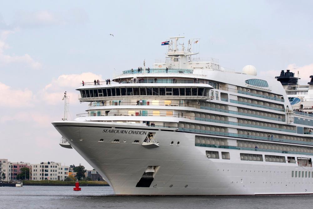 Seabourn cruise ship in harbor