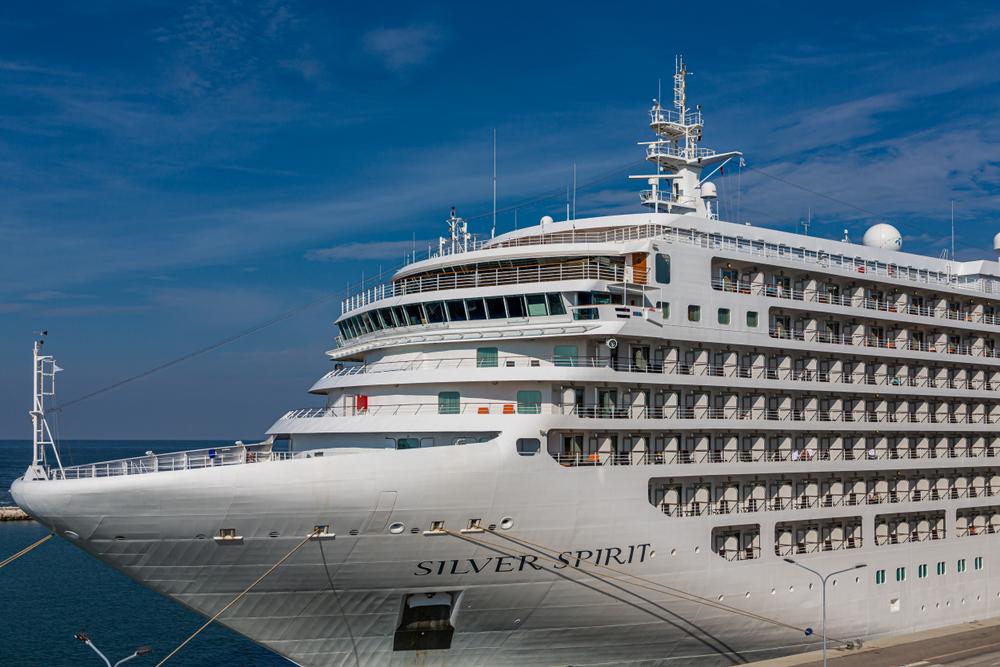 A close up image of a silversea cruise ship