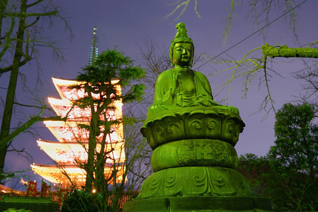 A Buddha statue in Tokyo.