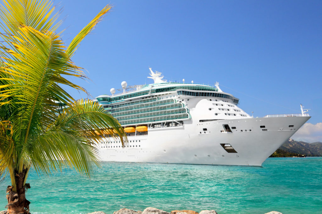 A cruise ship in the Caribbean.