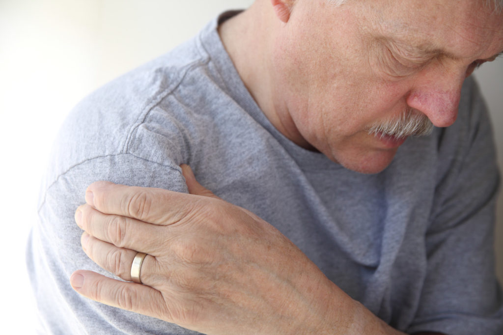 A man with shoulder pain.