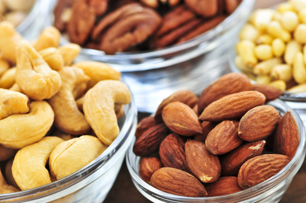 Bowls of nuts.