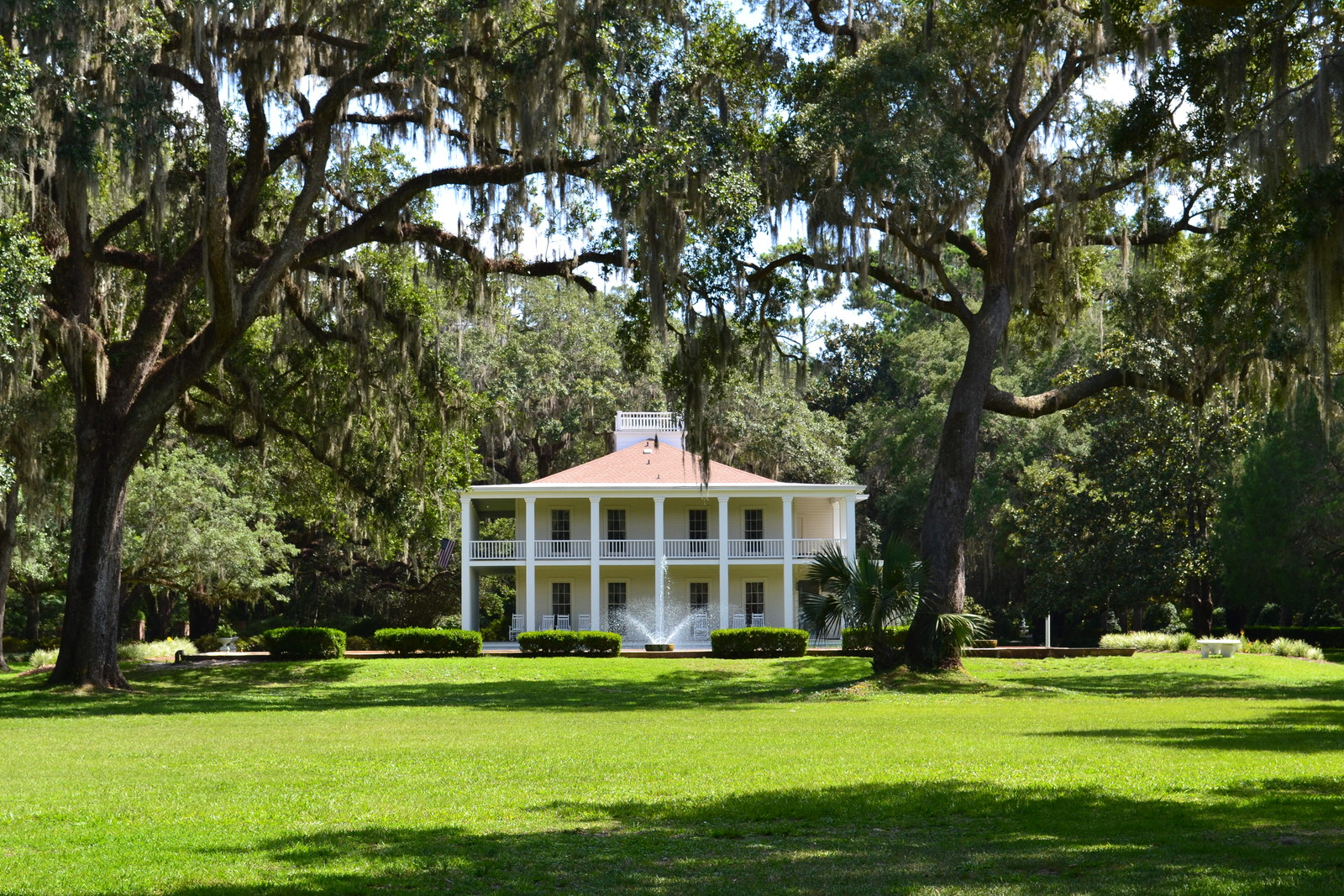 A classic antebellum mansion in the old south surrounded by live oaks draped in Spanish moss.